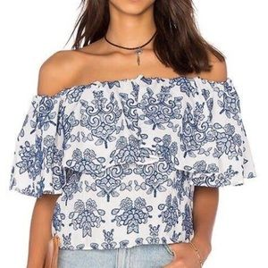 NWT Adiva Off The Shoulder Embroidered Top Size M